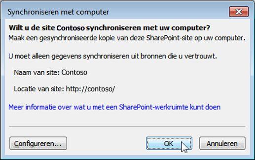 Dialoogvenster Synchroniseren met computer