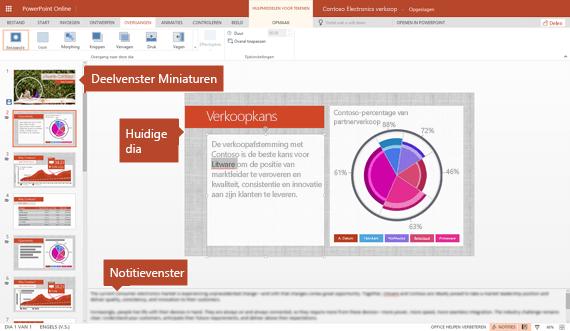Bewerkingsweergave in PowerPoint Online