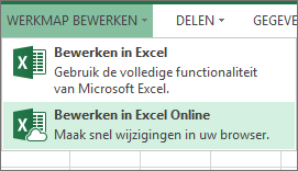 Bewerken in Excel Online in het menu Werkmap bewerken