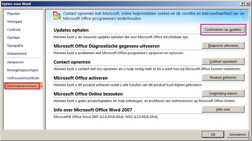 Controleren op Office-updates in Word 2007