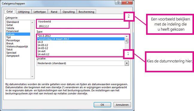 het datumtype uitkiezen en een voorbeeld weergeven in het vak voorbeeld