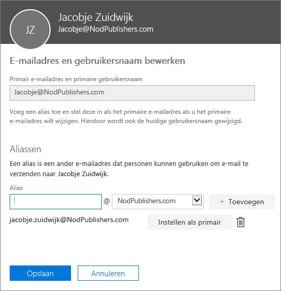 Het venster voor het bewerken van e-mailadressen en gebruikersnamen met het primaire e-mailadres en een alias die kan worden ingesteld als het primaire e-mailadres.