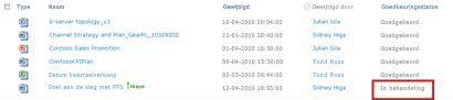 SharePoint-bibliotheek met bestand met status In behandeling dat moet worden goedgekeurd