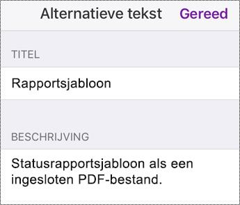 Alternatieve tekst toevoegen aan een ingesloten bestand in OneNote voor iOS