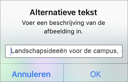 Outlook voor iOS: alternatieve tekst voor afbeeldingenmenu