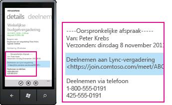 Schermafbeelding met een vergaderverzoek in Lync voor mobiele clients