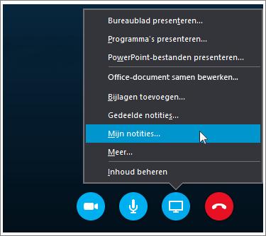 Schermafbeelding van het delen van OneNote 2016-notities in Skype voor Bedrijven.