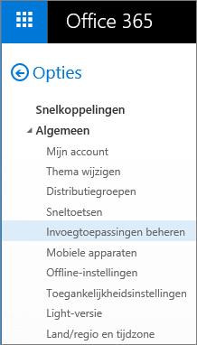 Schermafbeelding van de sectie Algemeen van het menu Opties in Outlook, waarbij de optie Invoegtoepassingen beheren is gemarkeerd.