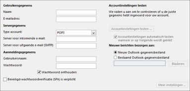 IMAP-accountinstellingen invoeren