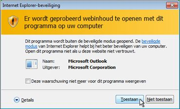Beveiligingsvenster van Internet Explorer