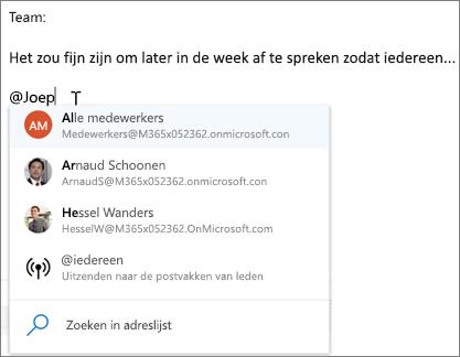 @mentions in de webversie van Outlook