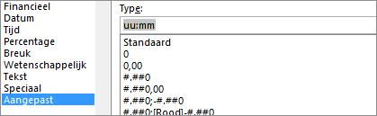 Dialoogvenster cellen opmaken, aangepaste opdracht, [h]: mm type