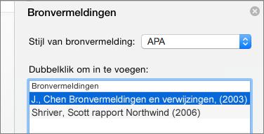 Deelvenster Bronvermeldingen met lijst met bronvermeldingen.