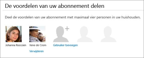 De sectie De voordelen van uw abonnement delen van de pagina Office 365 delen waarop de koppeling Verwijderen onder de foto van een gebruiker wordt weergegeven.