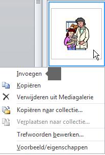 Klik met de rechtermuisknop op een miniatuurafbeelding en selecteer Invoegen om een afbeelding in te voegen.