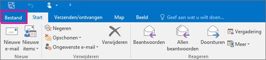 Zo ziet het lint eruit in Outlook 2016