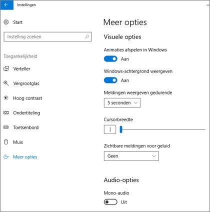 De toegankelijkheid van Access, deelvenster met overige opties in Windows 10-instellingen
