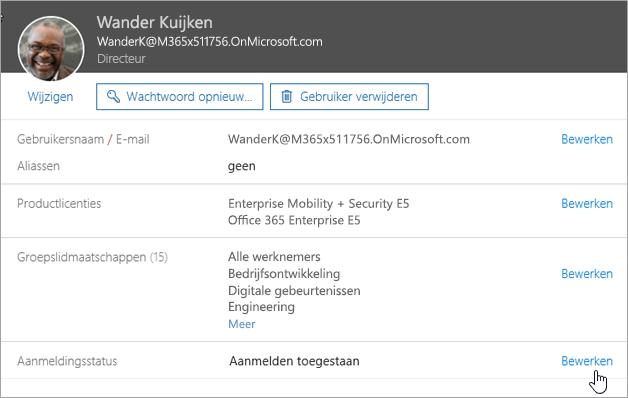 Schermafbeelding van de aanmeldstatus van een gebruiker in Office 365