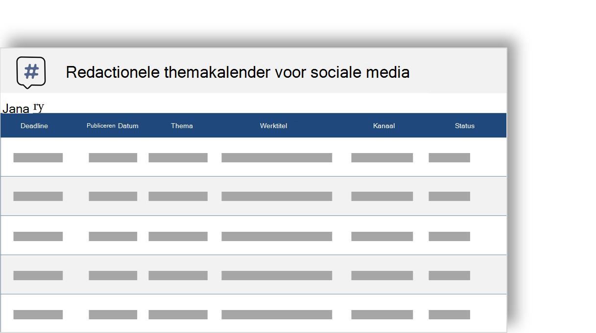 conceptuele weergave van een agenda van de redactionele thema sociale media