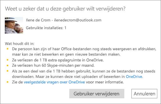 Schermafbeelding van het bevestigingsvenster wanneer u een gebruiker verwijdert uit uw abonnement op Office 365 Home.