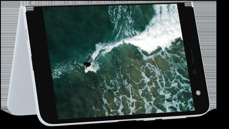 Video afspelen in de tent modus op Surface Duo