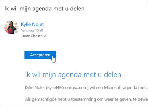 Een schermafbeelding van een uitnodiging voor een gedeelde agenda.