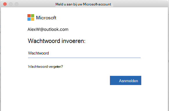 MSA-aanmeldingspagina in Outlook voor Mac