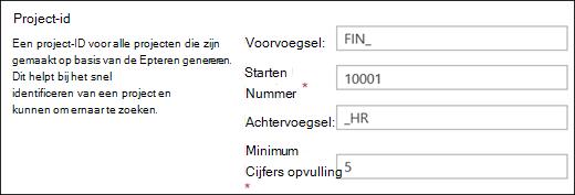 Instellingen voor project-id's