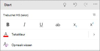 Menu Lettertype in PowerPoint voor Windows-telefoons.