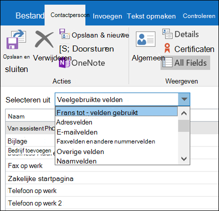Selecteer alle velden informatie invoeren in een tabel.