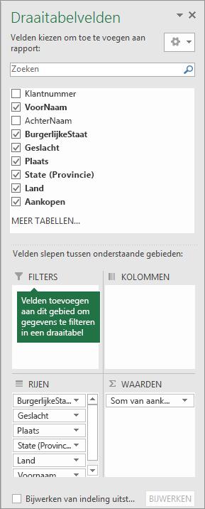 Filtergebied in deelvenster Lijst met draaitabelvelden