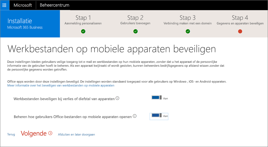 Schermafbeelding van de pagina Werkbestanden op mobiele apparaten beveiligen