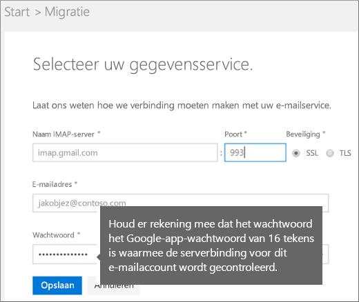 IMAP-servergegevens en accountgegevens invullen om verbinding te maken