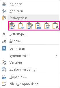 Groep met vijf opties voor het plakken van Excel-grafieken in Word