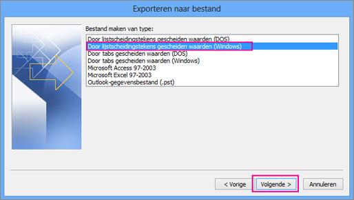 Kies voor het exporteren van een .csv-bestand (Windows)