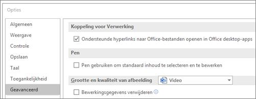 Dialoogvenster Opties met selectievakje Hyperlinks openen aangevinkt