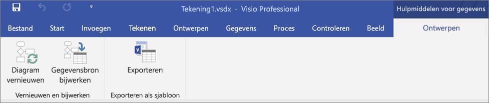 Schermafbeelding van de gemarkeerde opties van Gegevens visualiseren op het lint - Vernieuwen, Maken, Exporteren