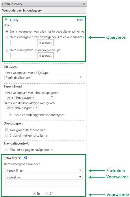 Queryconfiguratie in CQWP