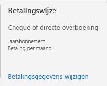 In de gebruikersinterface van de betalingswijze ziet u dat dit abonnement is geconfigureerd voor betaling per factuur.