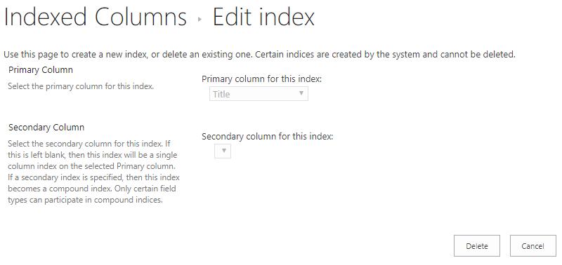 U kunt een index verwijderen nadat u erop hebt geklikt