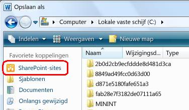 Koppeling SharePoint-sites in het dialoogvenster Opslaan als