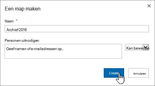 Dialoogvenster Nieuwe map delen in SharePoint 2016