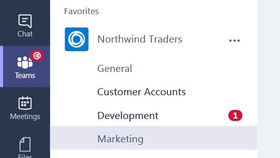 Een schermafbeelding van een melding op een teamkanaal.