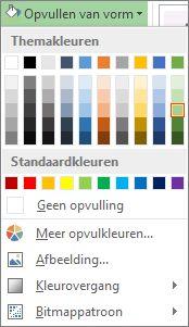Menu met kleuropties voor Opvullen van vorm