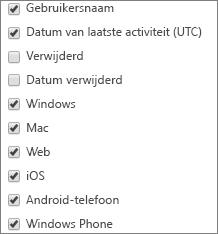 App-gebruiksrapport Teams- kolommen kiezen