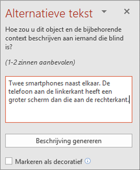 Deelvenster alternatieve tekst in PowerPoint voor Windows
