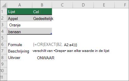 Een voorbeeld gebruiken of en EXACTE functies om te vergelijken van een bepaalde tekenreeks aan een lijst met waarden
