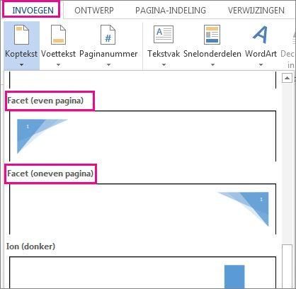 Koptekstindelingen voor even en oneven pagina's