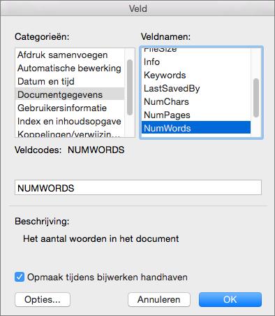 Het dialoogvenster Veld met Documentgegevens en NumWords geselecteerd.