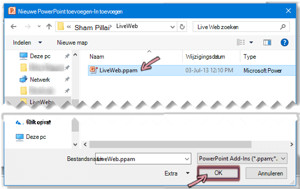 Selecteer LiveWeb.ppam en klik vervolgens op OK.